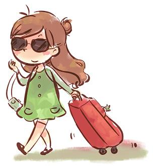 vignetta con ragazza con trolley